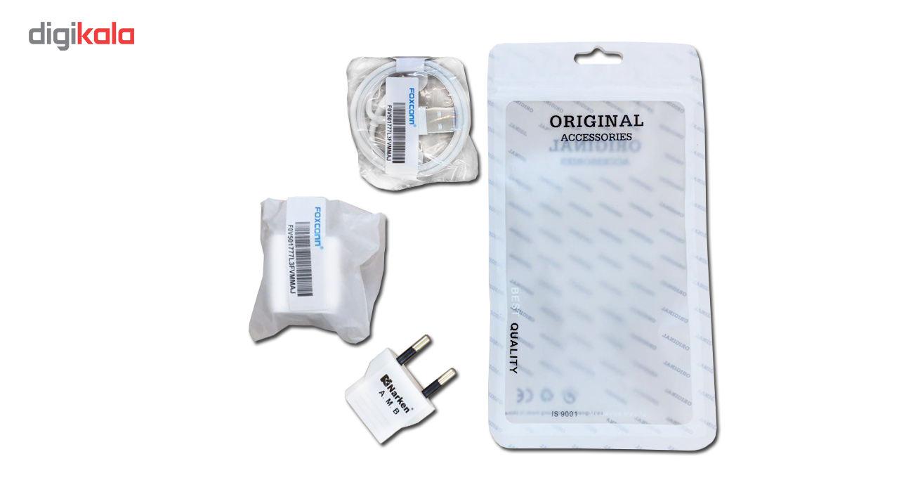 کابل تبدیل USB به لایتنینگ فاکسکان همراه با شارژر دیواری فاکسکان و مبدل برق نارکن مدل NK 605k5 main 1 2