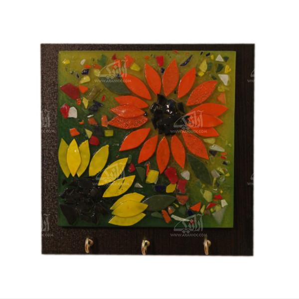 کلید آویز آبگینه موزائیک  رنگ قهوه ای طرح آفتابگردان مدل 1005400015