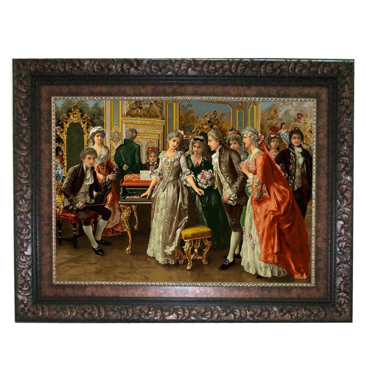 تابلو فرش ماشینی نقش نگار رضوی طرح پیانو زن کد 637B