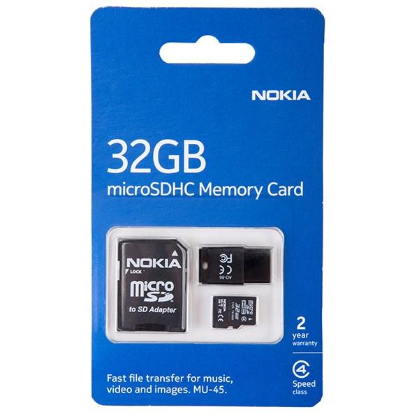 کارت حافظه microSDHC نوکیا مدل MU-45 کلاس 4 به همراه آداپتور SD ظرفیت 32 گیگابایت