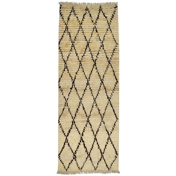 فرش دستبافت کناره طول سه متر طرح مراکشی مدل شگی کد 997198