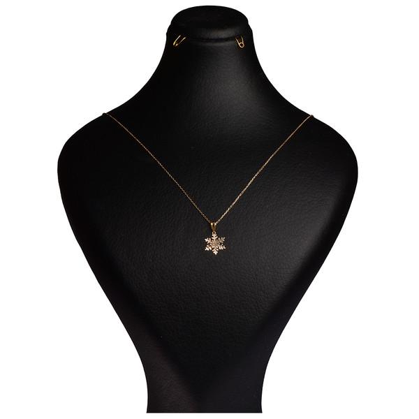 گردنبند طلا 18 عیار زنانه کرابو طرح دونه برف مدل Kr7007