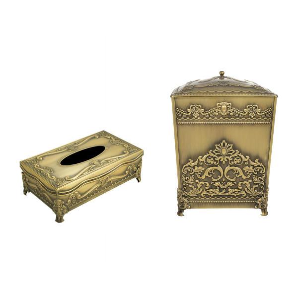 ست سطل و جا دستمال کاغذی مدل آنتیک طرح سلطنتی  