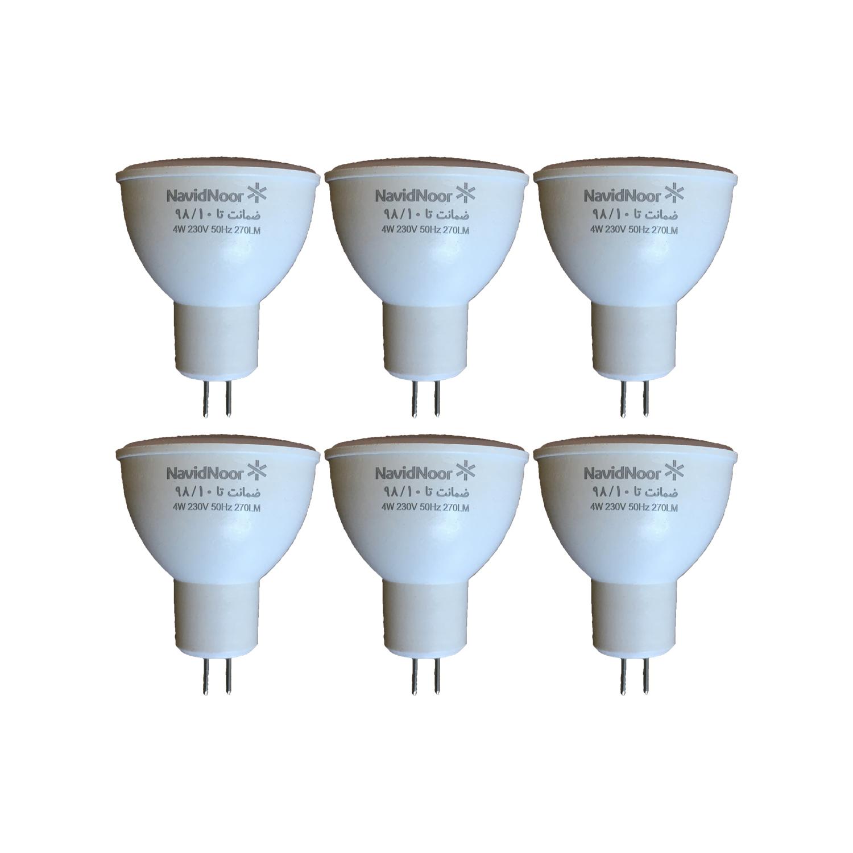 لامپ هالوژن 4 وات نوید نور مدل NN-4mr16 بسته 6 عددی