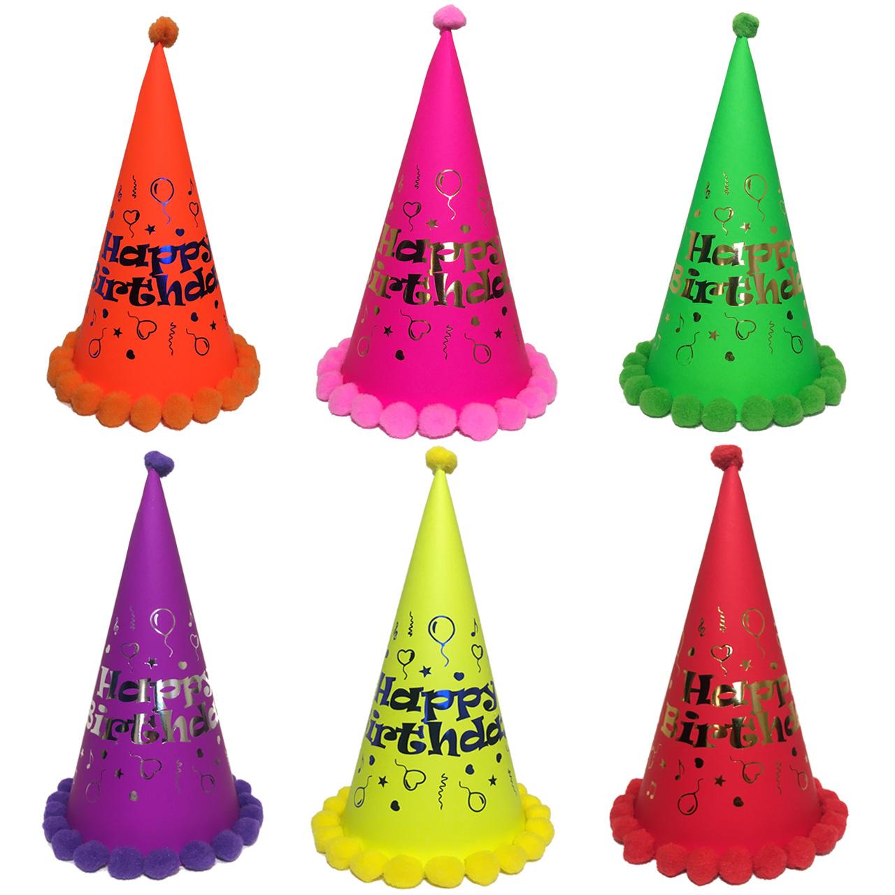 عکس کلاه تولد مدل Black Light Happy مجموعه 6 عددی