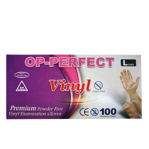 دستکش یکبار مصرف ونیل مدل OP-PERFECT بسته 100 عددی سایز بزرگ