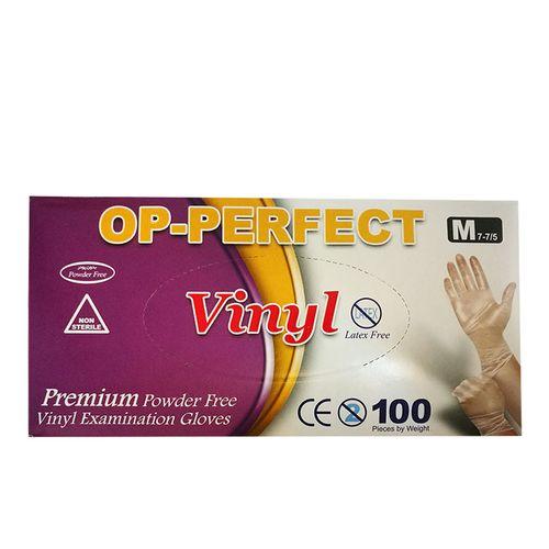 دستکش یکبار مصرف ونیل مدل OP-PERFECT بسته 100 عددی سایز متوسط