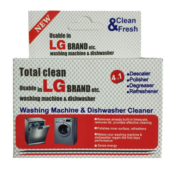 پودر جرم گیر ماشین ظرفشویی و ماشین لباسشویی 5 عددی ال جی LG حجم 200 گرم |