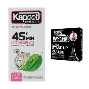 کاندوم کاپوت مدل 45 Minutes بسته 12 عددی به همراه کاندوم ناچ کدکس مدل Always Stand Up بسته 3 عددی