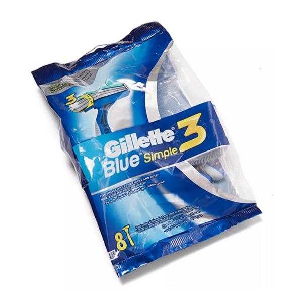 قیمت خود تراش مردانه ژیلت مدل Blue Simple 3 بسته 8 عددی