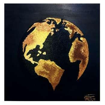 تابلو نقاشی اکرلیک طرح کره زمین