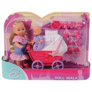 عروسک سیمبا مدل Evi Love Mit Puppenwagen سایز کوچک