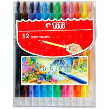 مداد شمعی 12 رنگ پیچی تی تی مدل Twist کد TI-CO-12T