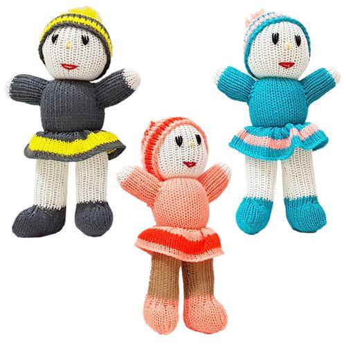 عروسک بافتنی طرح آدمک مجموعه ۳ عددی