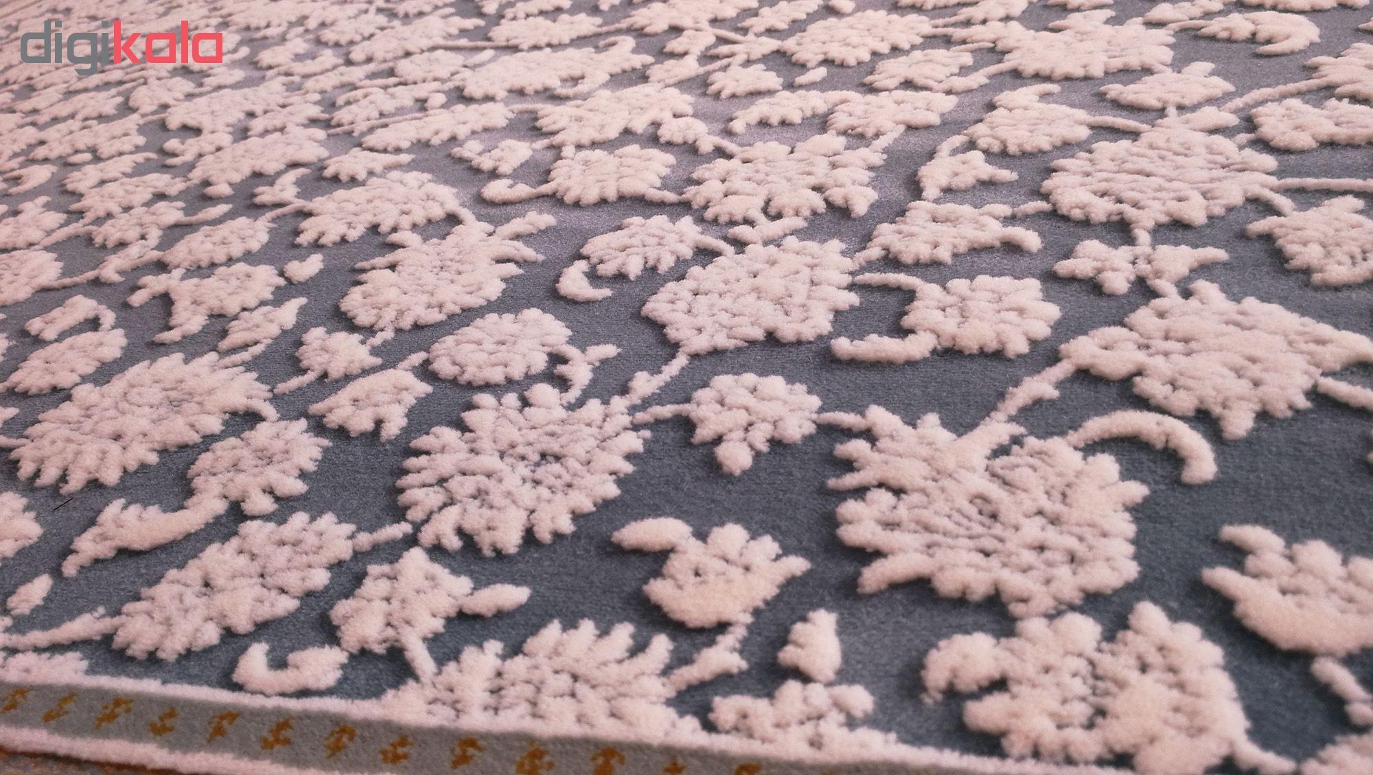 فرش ماشینی زمرد مشهد طرح 26003 زمینه آبی