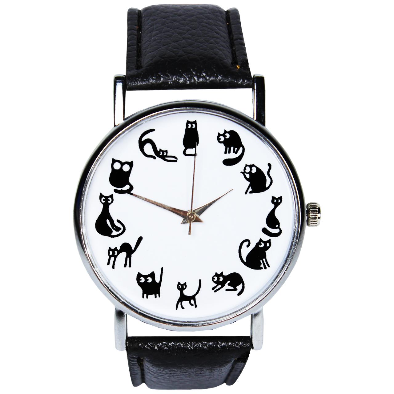 ساعت مچی عقربه ای مویا مدل گربه 002