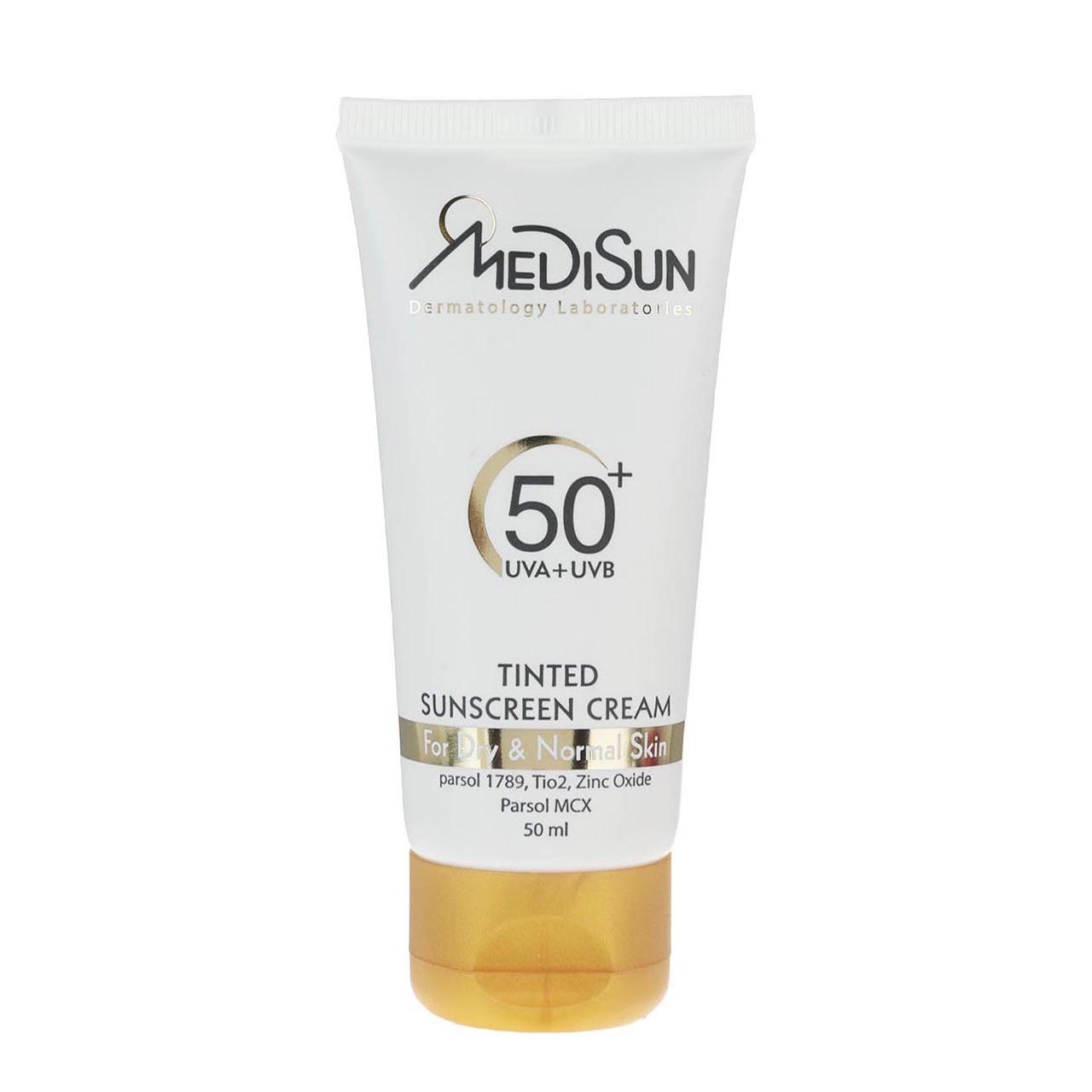 قیمت کرم ضد آفتاب مدیسان سری Dry And Normal Skin مدل Tinted حجم 50 میلی لیتر