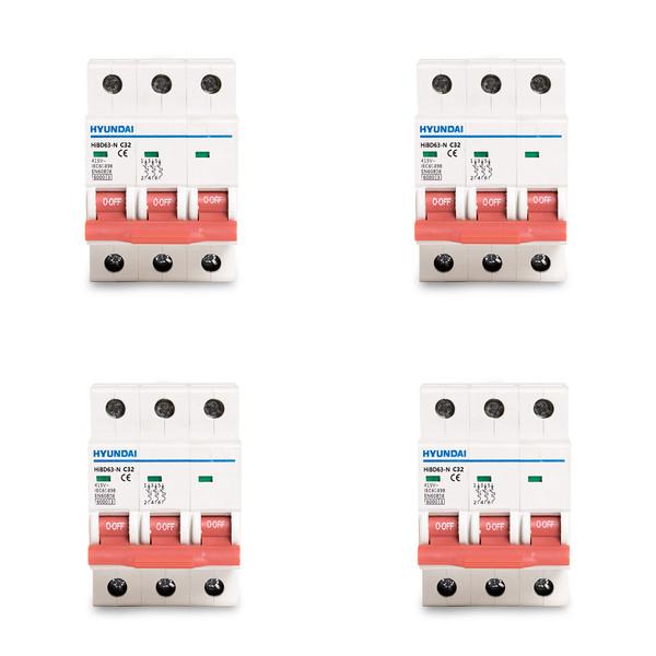 فیوز مینیاتوری سه فاز 32 آمپر هیوندای مدل C25 بسته 4 عددی