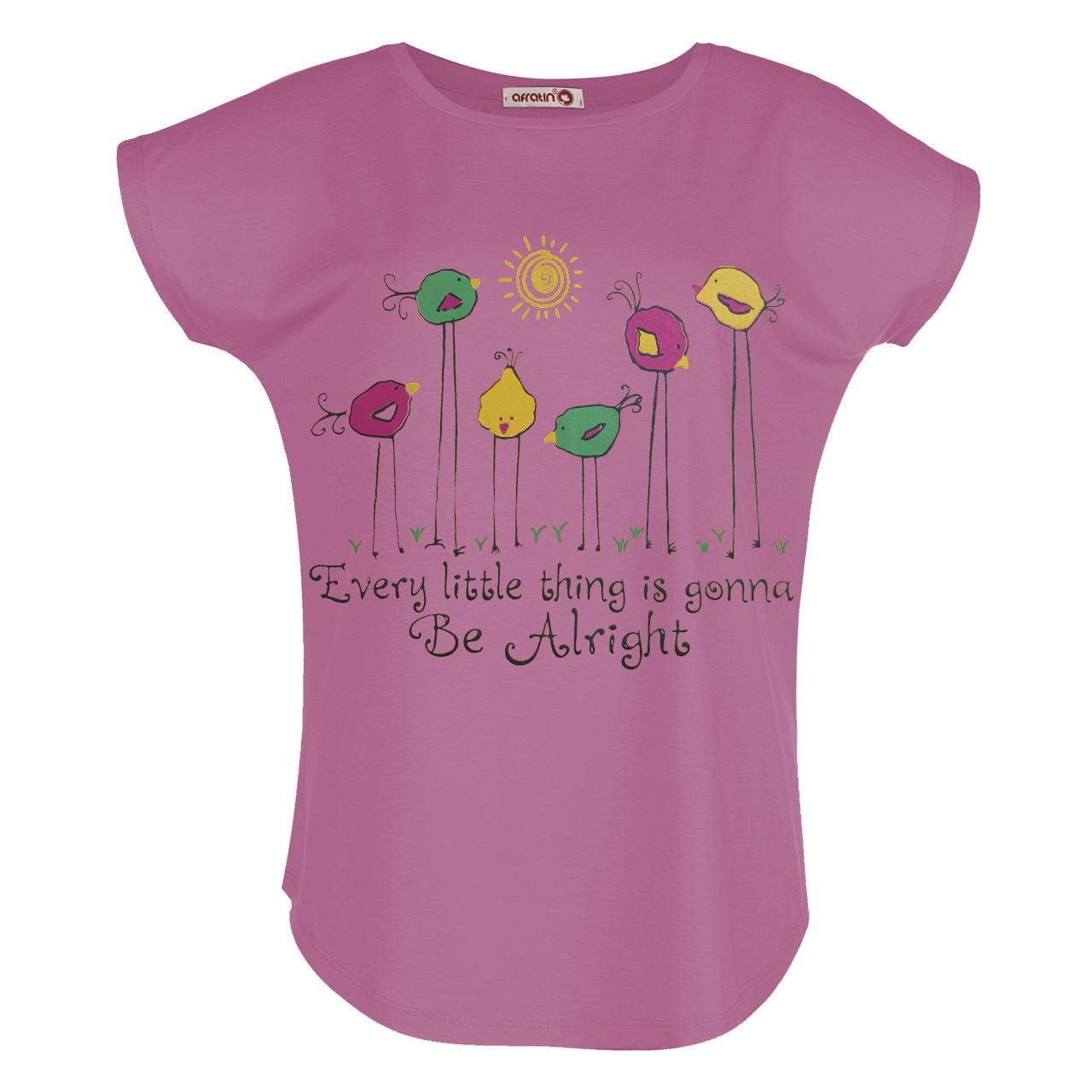 تی شرت زنانه افراتین طرح جوجه کد 2549 رنگ صورتی