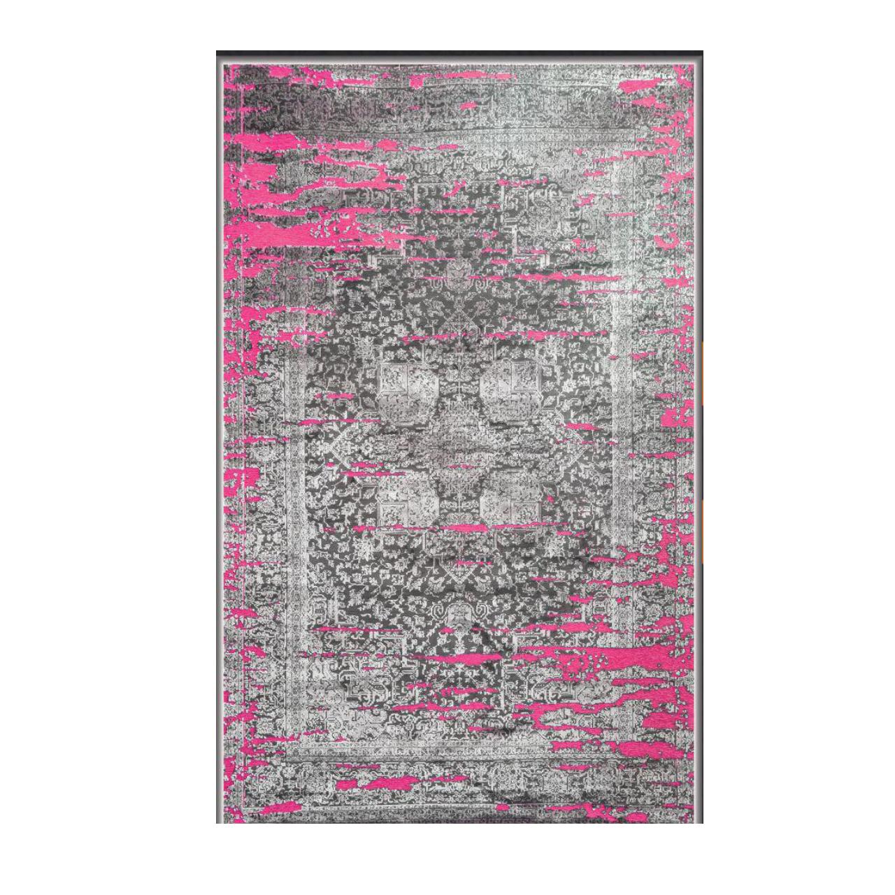 فرش ماشینی طرح پتینه کد2013 زمینه طوسی صورتی