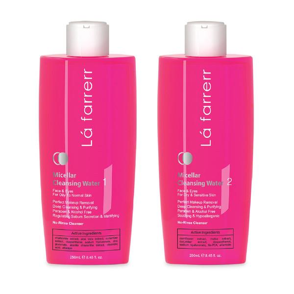 محلول پاک کننده آرایش صورت لافارر مدل Oily to Normal Skin حجم 250 میلی لیتر به همراه محلول پاک کننده آرایش مدل Dry and Sensitive