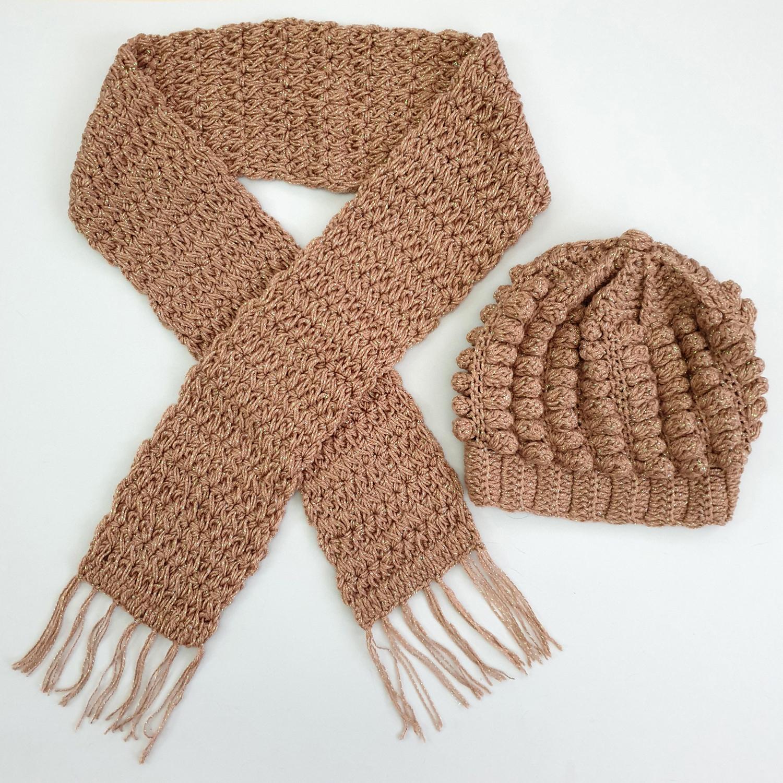 ست کلاه و شال گردن بافتنی دخترانه كد SHB07-CR