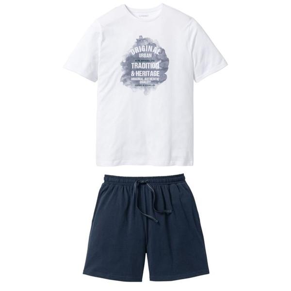 ست تی شرت و شلوارک مردانه لیورجی مدل 3446731 رنگ سفید