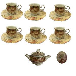 سرویس چای خوری 14 پارچه لمونژ کد BTC 31 به همراه زیر لیوانی