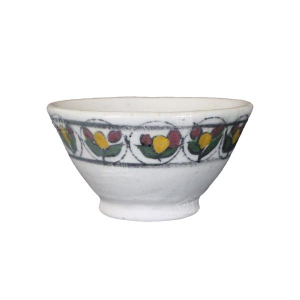 کاسه سفالی آرانیک نقاشی رولعابی رنگ سفید طرح گل مدل  1004000048