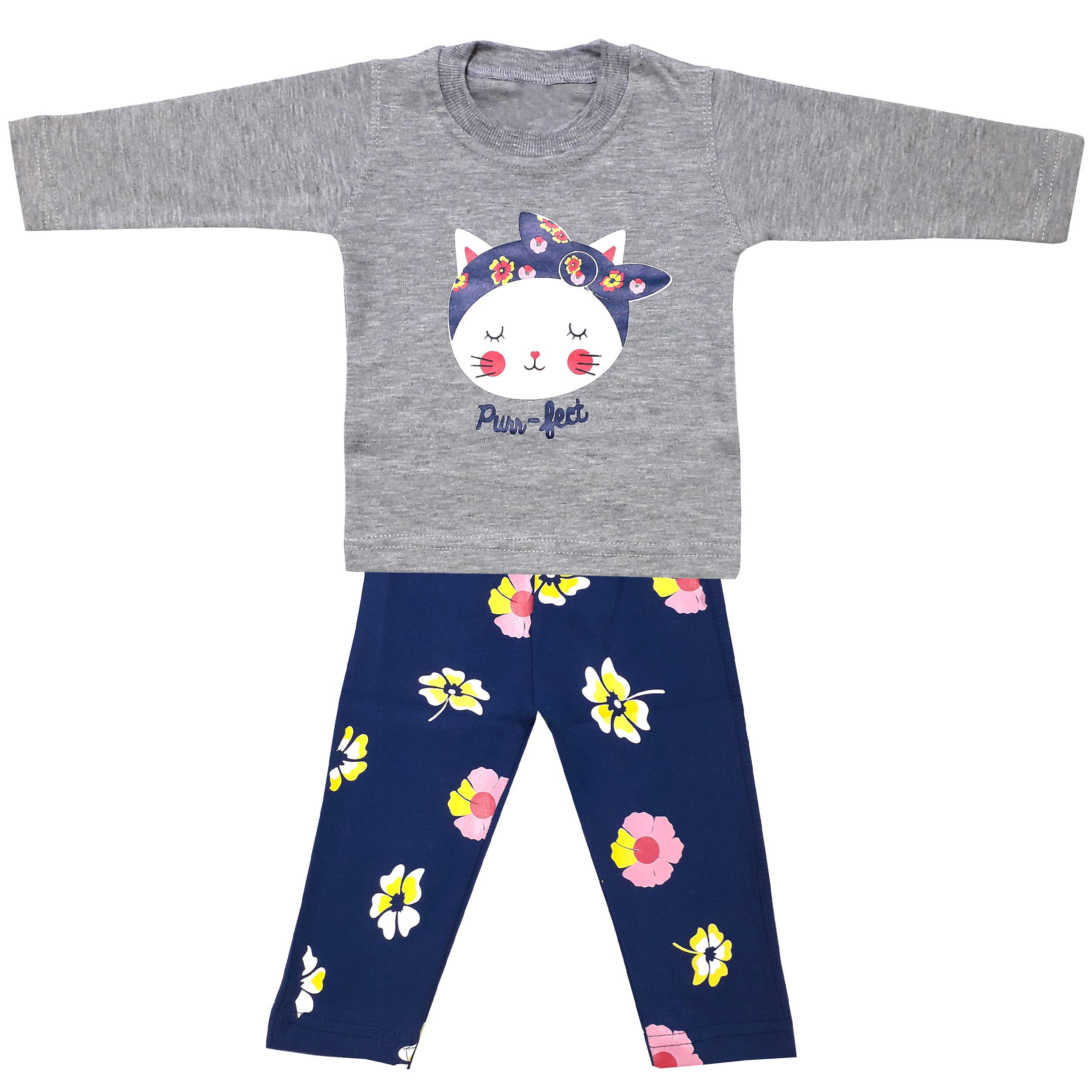 ست تی شرت و شلوار نوزادی دخترانه طرح پیشی کد 3264