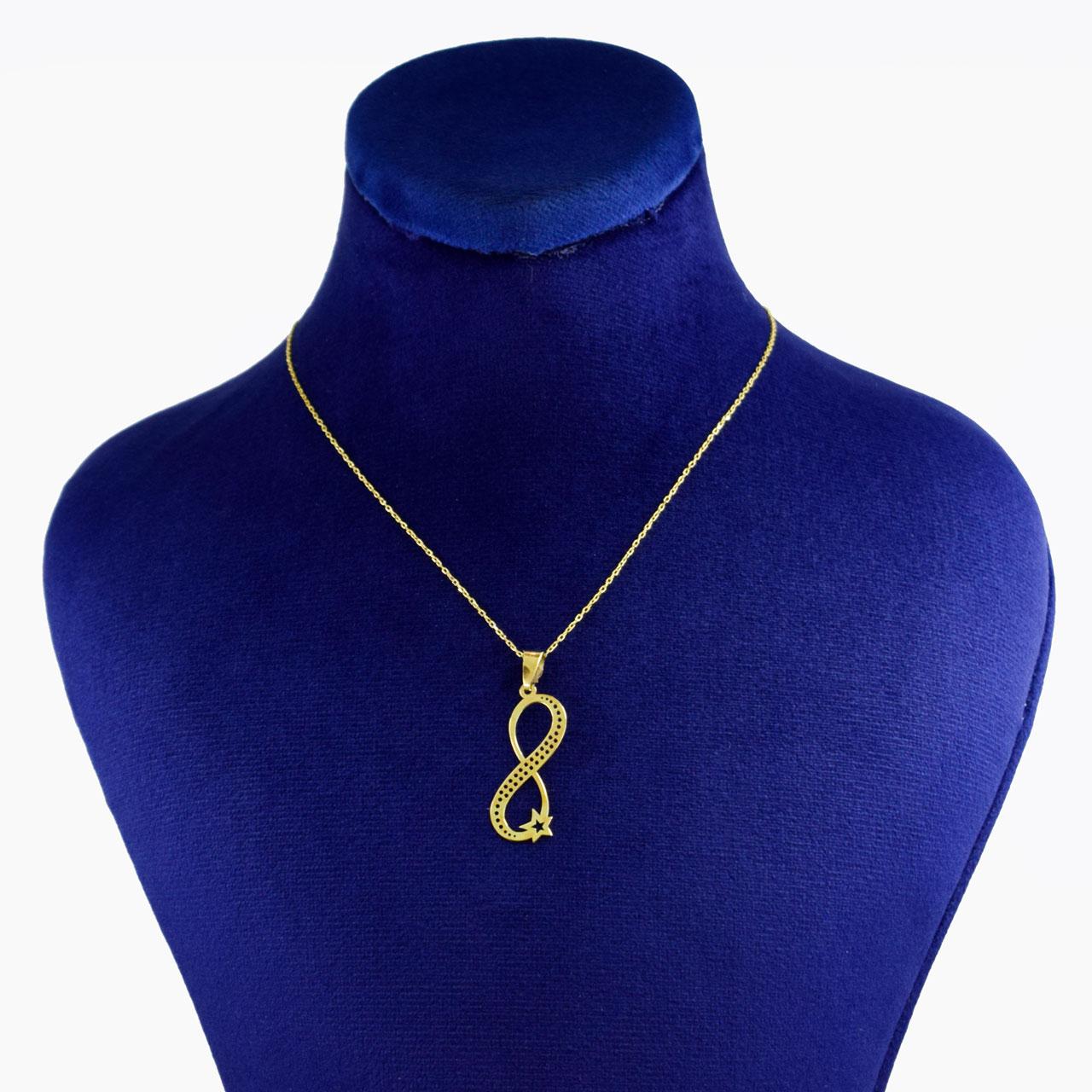 گردنبند طلا 18 عیار زنانه کانیار گالری طرح بینهایت کد 6934