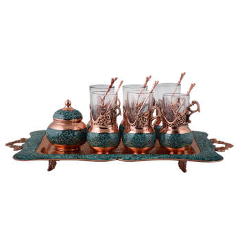 سرويس چای خوری 8 پارچه فیروزه کوبی آقاجانی مدل فاخر کد F018