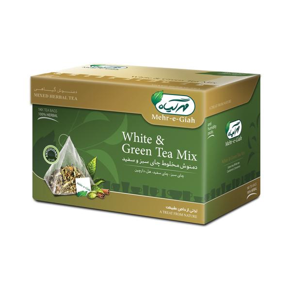 دمنوش گیاهی چای سبز و سفید مهرگیاه بسته 14 عددی