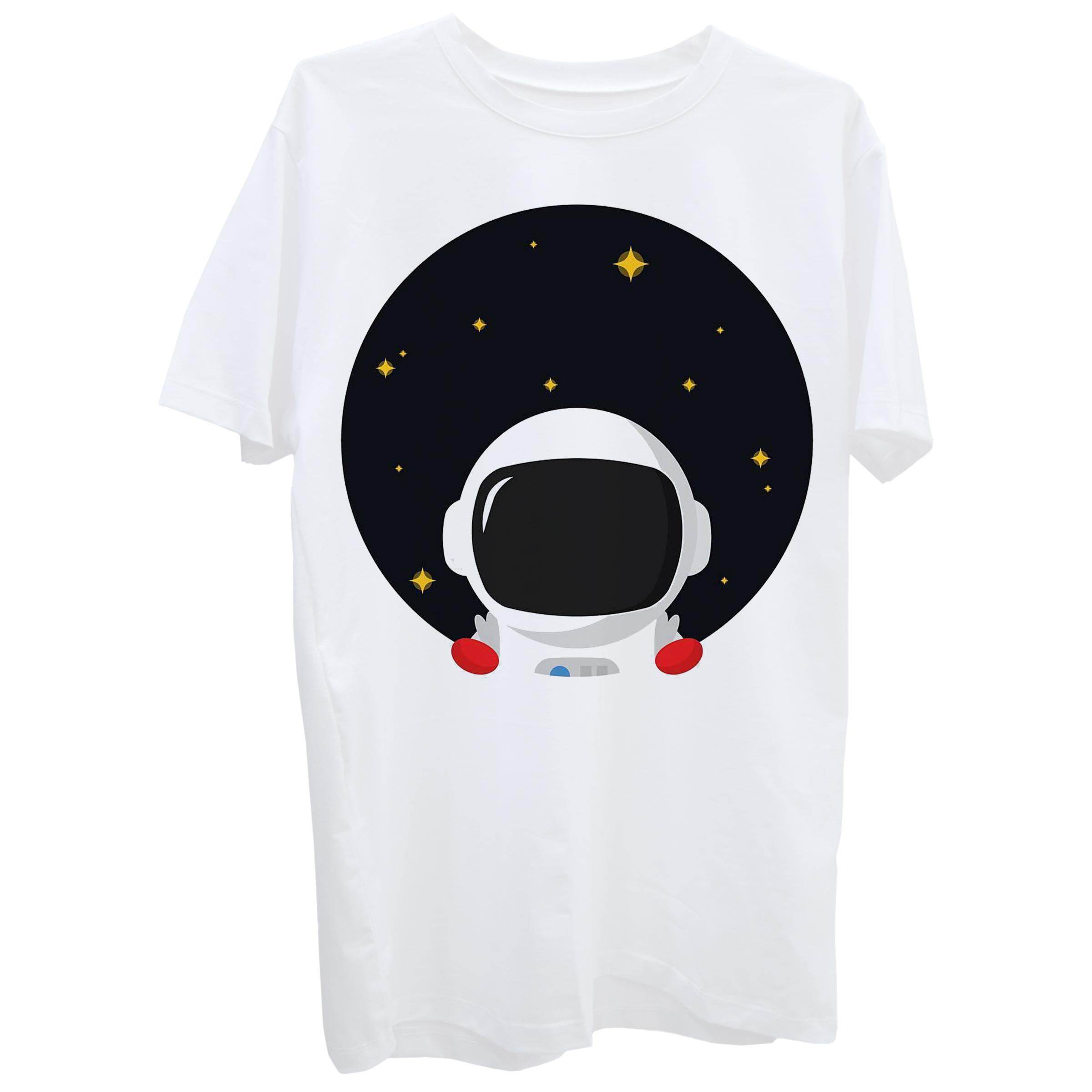 تی شرت آستین کوتاه زنانه طرح فضانورد کد Z336