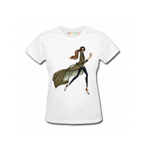 تی شرت آستین کوتاه زنانه چاپ سی مدل فشن AT کد 01ww