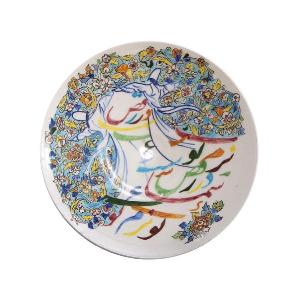 بشقاب سفالی آرانیک نقاشی زیر لعابی رنگ سفید طرح رقص سماع 2 مدل 1000200060