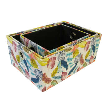 جعبه ارگانایزر هوم اند لایف مدل تویینز طرح برگ های رنگی مجموعه 3 عددی
