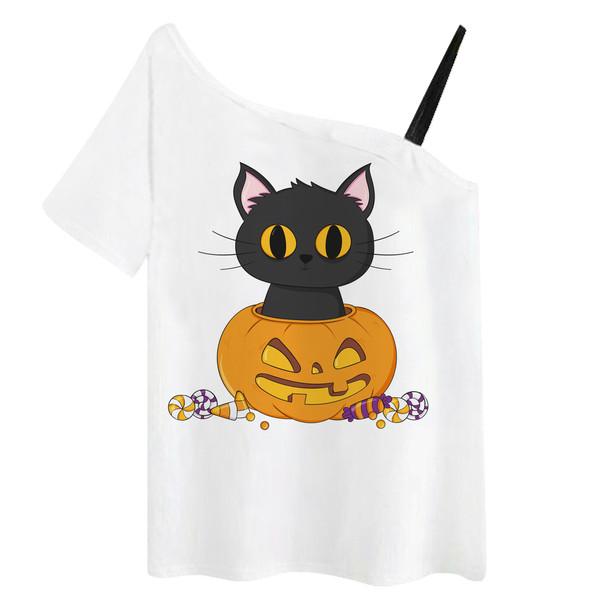 تی شرت زنانه مدل گربه و کدو هالووین کد f645o