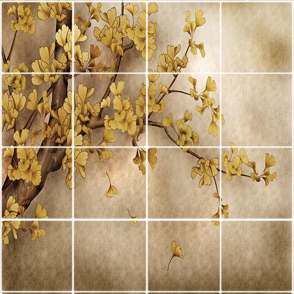 تایل سقفی طرح درخت طلائی کد 1498-16 سایز 60x60 سانتی متر مجموعه 16عددی