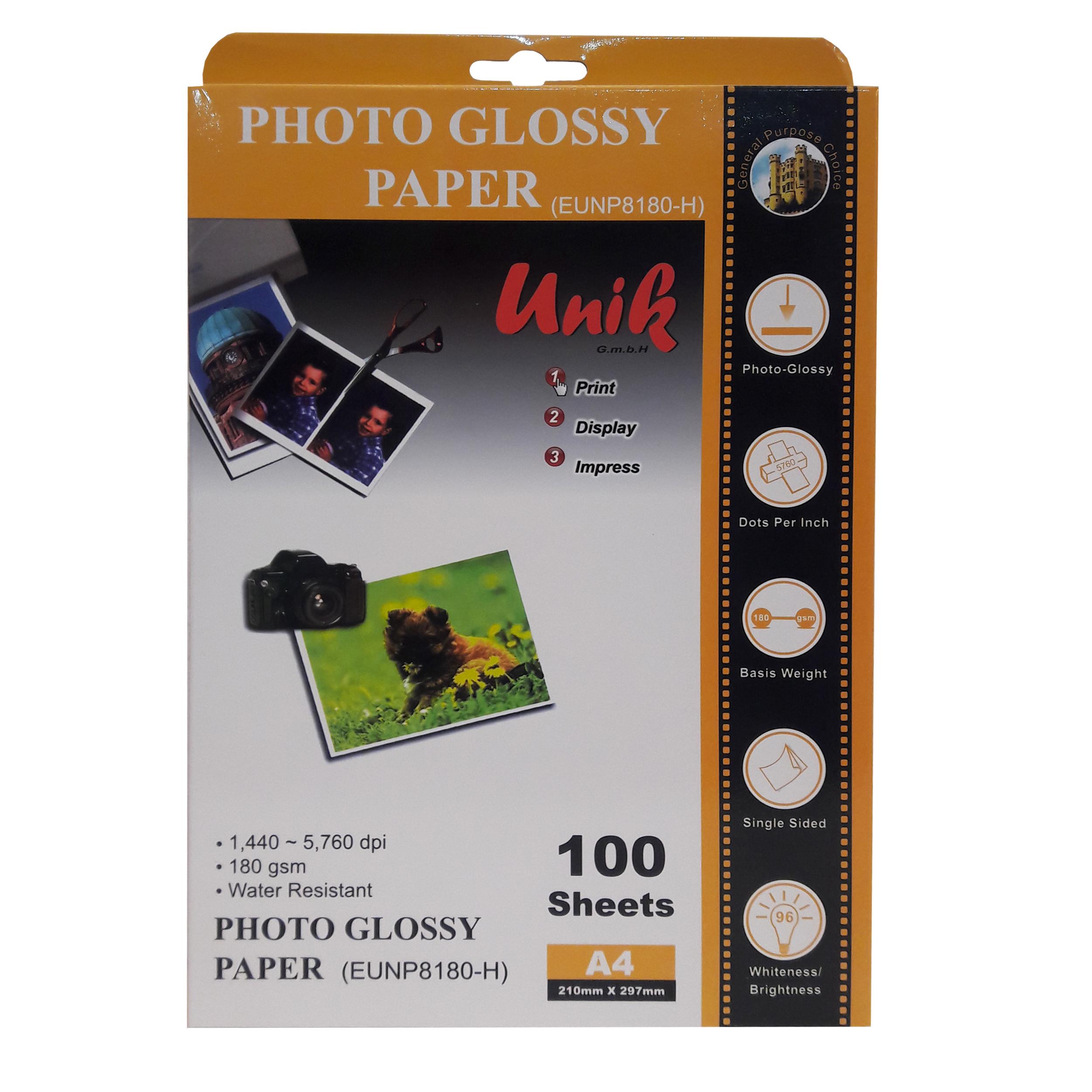 کاغذ چاپ عکس فتو گلاسه یونیک مدل EUNP8180H سایز A4 بسته 100 عددی