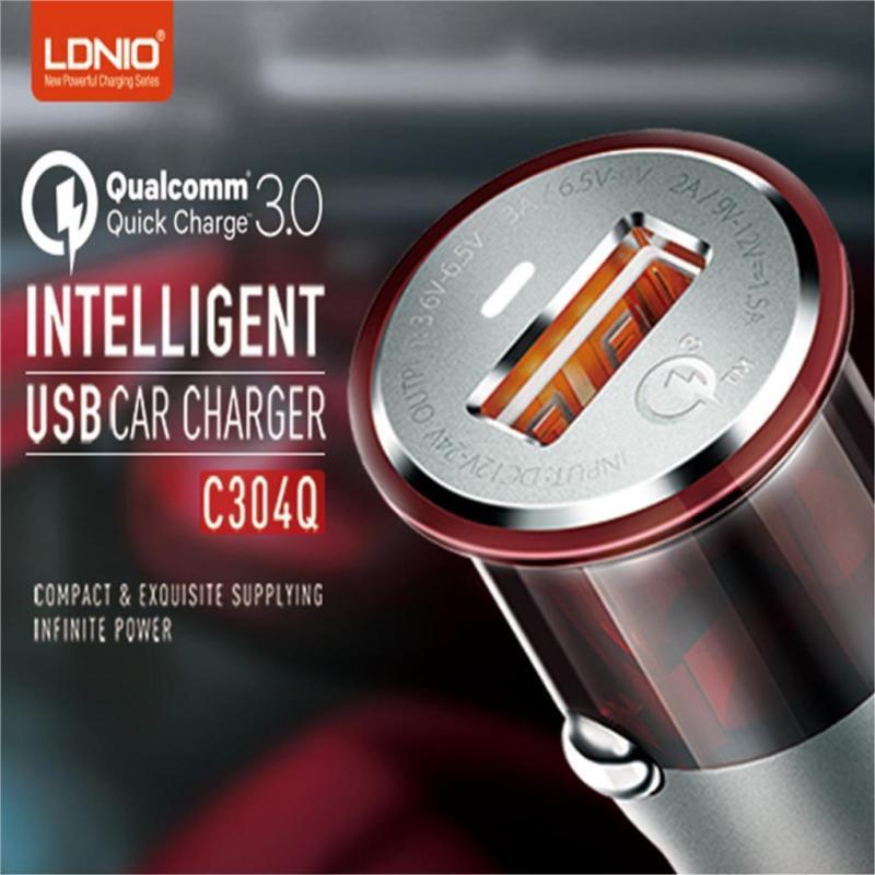 شارژر فندکی الدینیو مدل C304Q به همراه کابل تبدیل USB-C
