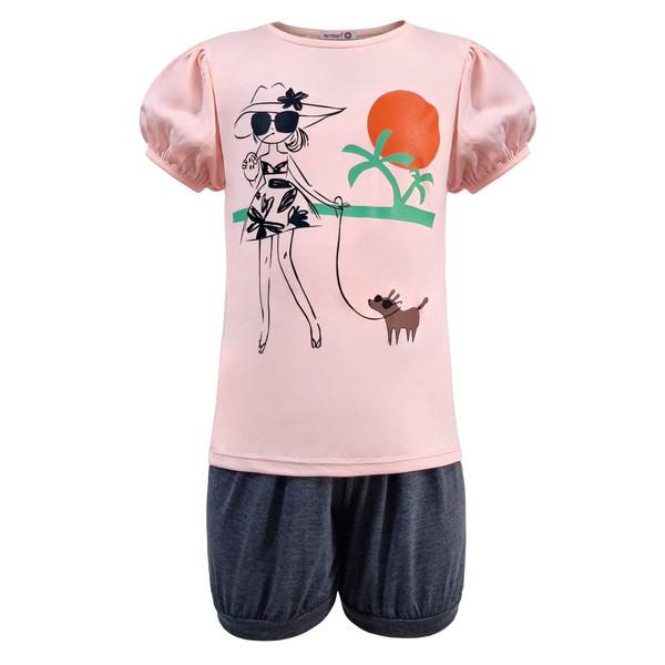 ست تی شرت و شلوارک دخترانه افراتین مدل دختر ساحلی رنگ صورتی روشن