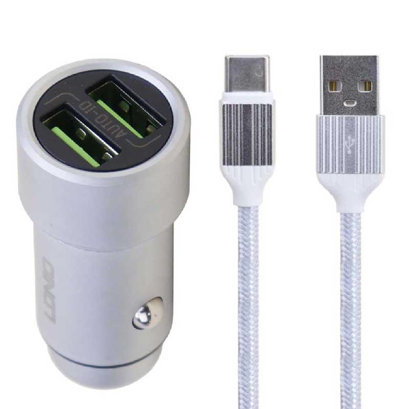 شارژر فندکی الدینیو مدل C302 به همراه کابل تبدیل USB-C
