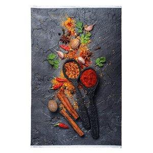 فرش ماشینی باتیک طرح آشپزخانه کد 700492 زمینه طوسی