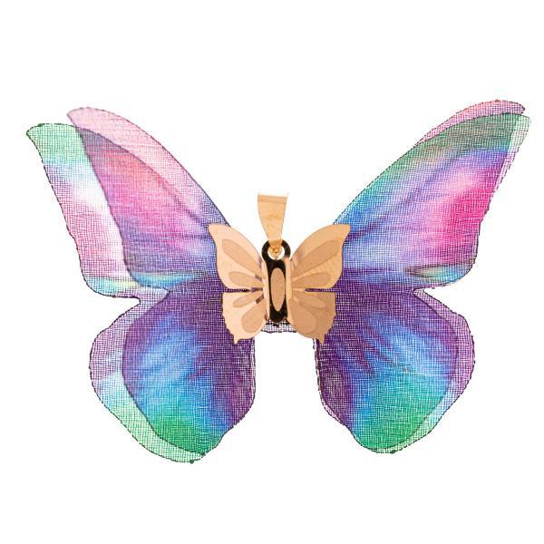 آویز گردنبند طلا 18 عیار زنانه مدل پروانه کد S1003