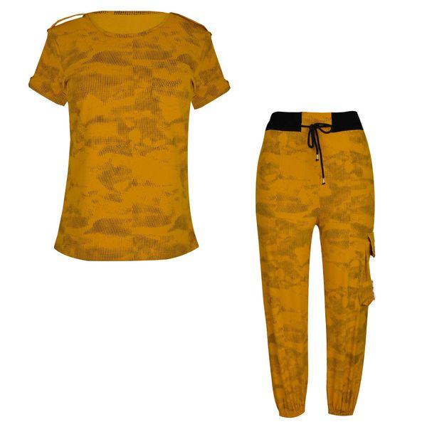 ست تی شرت آستین کوتاه و شلوار زنانه مدل 358034910