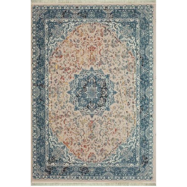فرش ماشینی افرند طرح پتینه کد 1506 زمینه نقرهای