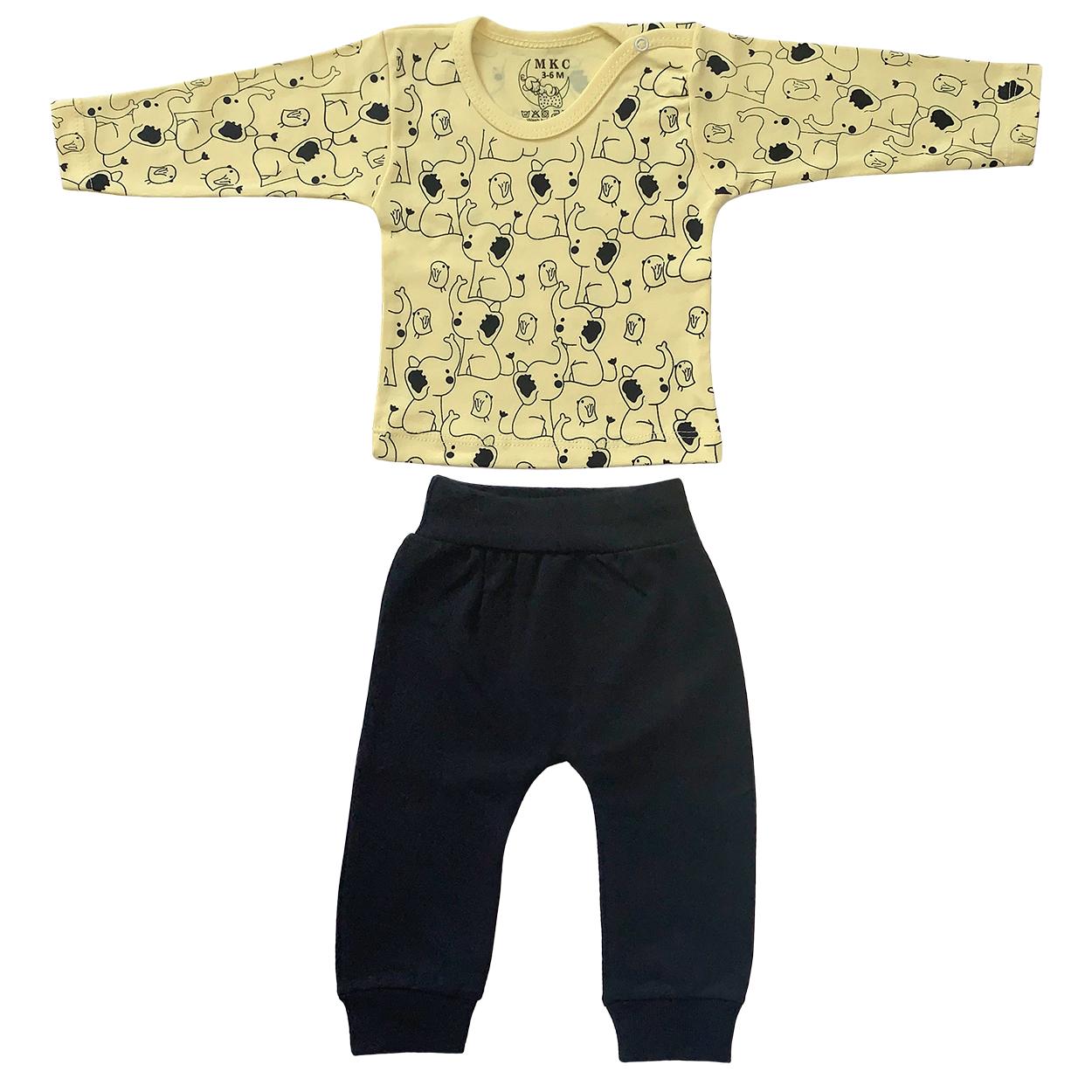 ست تی شرت و شلوار نوزادی طرح فیل کد FF-085  -  - 3