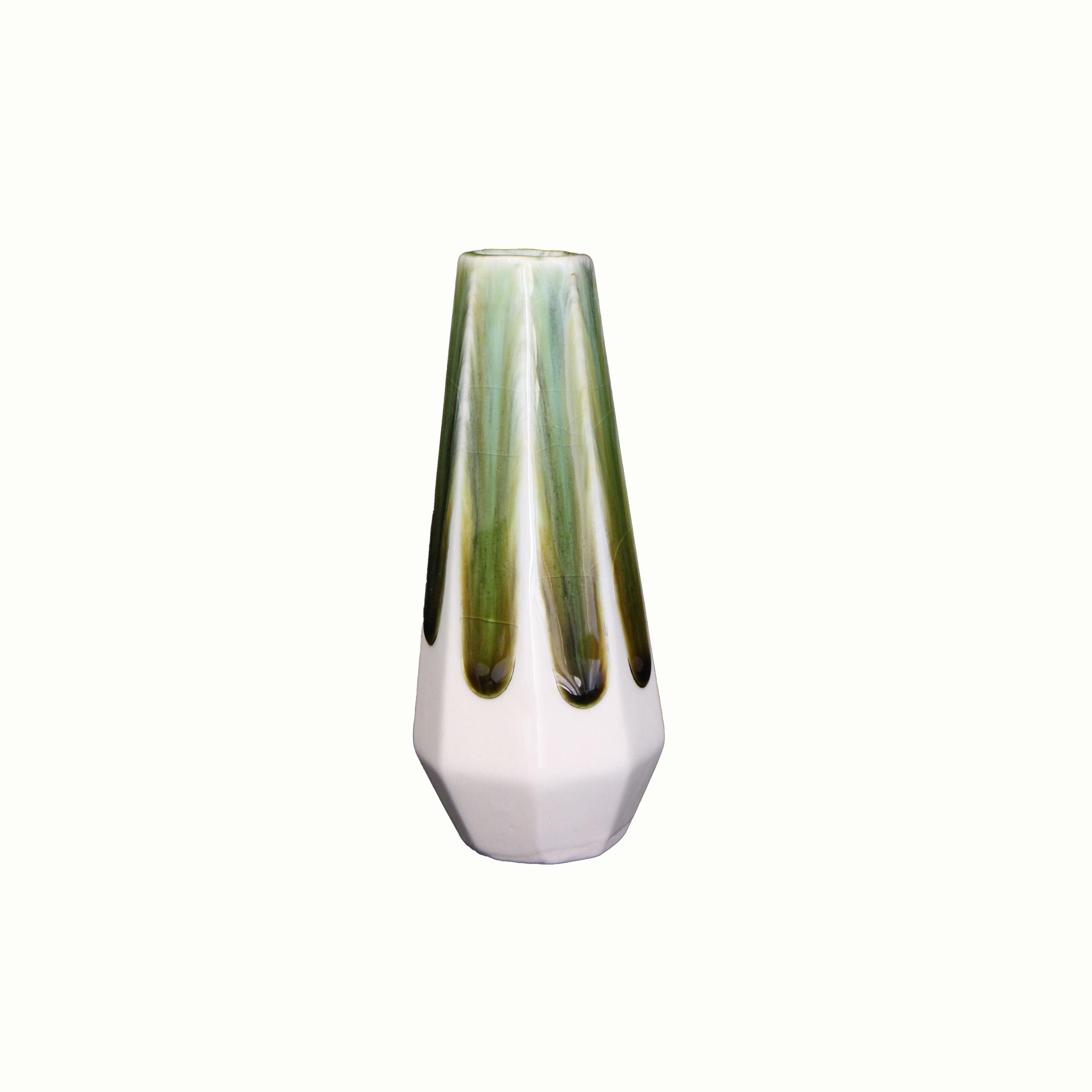 گلدان سفالی لعاب ساده   سبز طرح بارش  مدل 1015800018