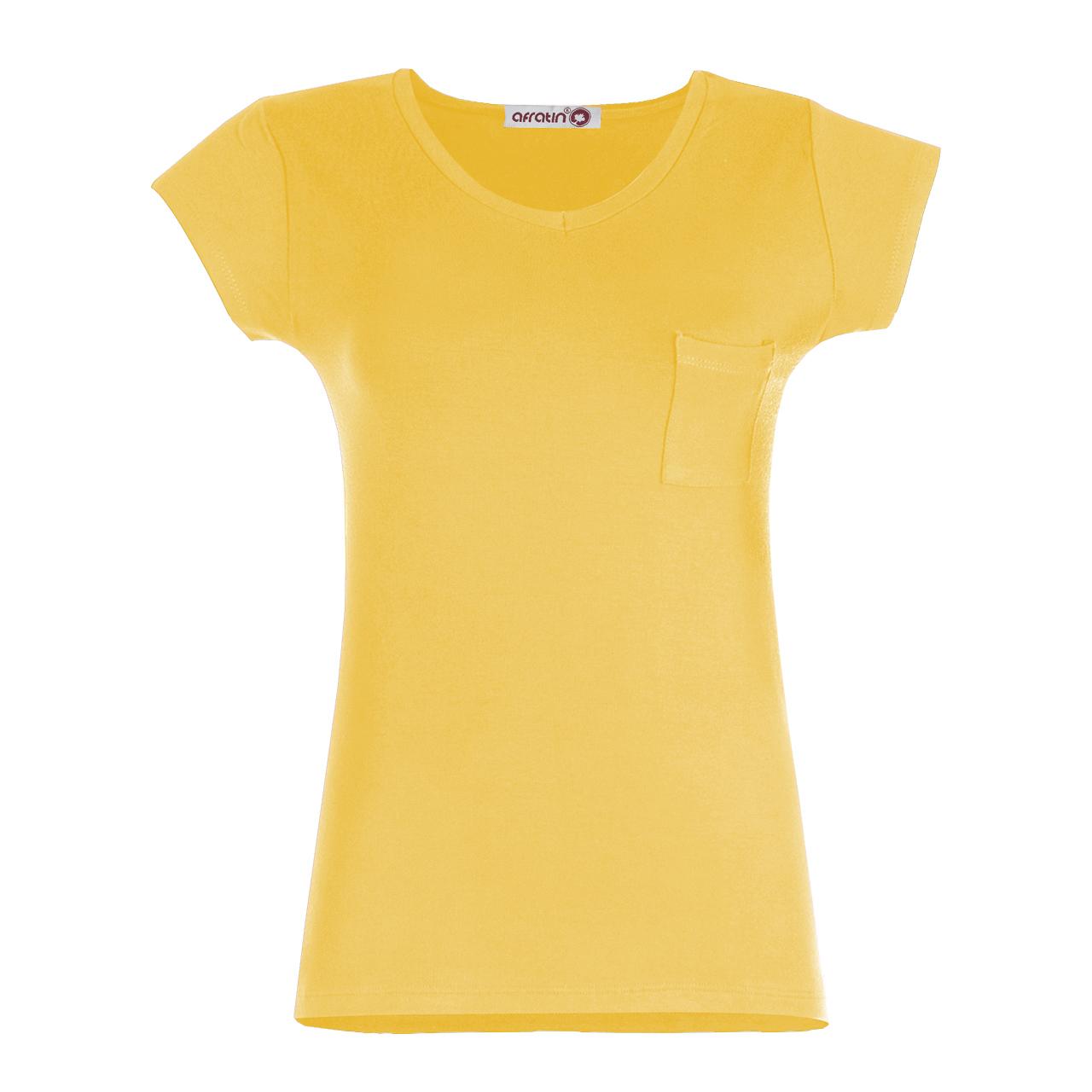 خرید                                        تی شرت زنانه افراتین کد 2515 رنگ زرد